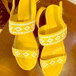 Tory Burch yellow and white wedges 7